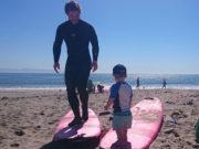 Am Surfbrett mit meinem Sohn in Kalifornien